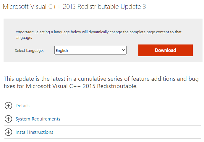 Microsoft Visual C++ 2015 Redistributable